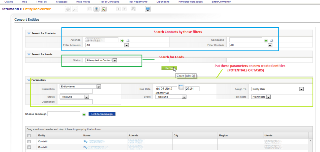 Filtered Contacts, Leads, vTiger CRM