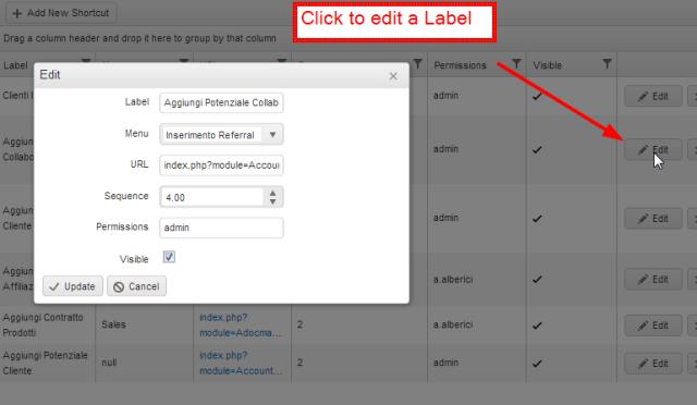 Edit a Label, vTiger CRM