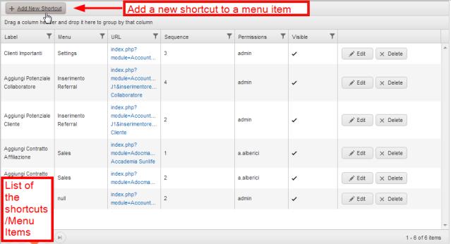 Add new shortcut, vTiger CRM