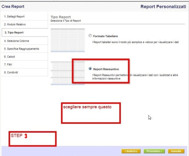 Step-3 È possibile scegliere uno dei formati Riassuntivi o in formato tabellare come un tipo di rapporto.
