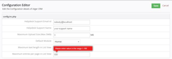Configuration Editor, vTiger CRM, record