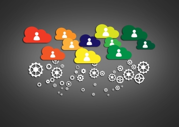 Network concept with cloud technology